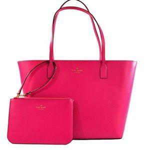 NWT Kate Spade Hot Pink Tote/Bag W/ Mini Wristlet